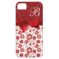 Monogram, Red Floral pattern Phone 5/5S Case