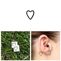 Heart Outline Temporary Tattoo (Set of 4) - Small Size