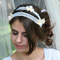Aphrodite  Lace Ribbon Double headband by HoneyandLaceDesigns