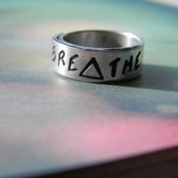 breathe triangle 1/4 inch wrapped ring