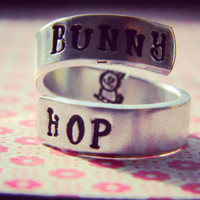 Bunny hop cute rabbit spiral hand stamped ring
