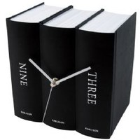 Book Design Table Clock Black