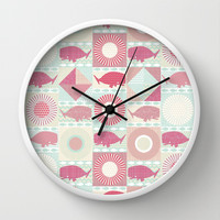 geo whales Wall Clock by Sharon Turner