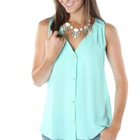 Mint Button Blouse