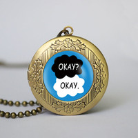 "Fault In Our Stars ""Okay"" pendant locket necklace,The Fault in Our Stars locket necklace, gift girlfriend boyfriend gift Bridesmaid Gift"