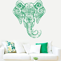 Wall Decal Vinyl Sticker Decals Art Decor Design Elephant Ganesh Indian Buddha Lotos Om God WingsTribal Pattern Yoga Bedroom Dorm (r413)