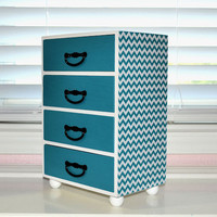 Chevron zigzag design jewelry box, custom color available, storage keepsake treasure box, dessert turquoise handmade decoupage box