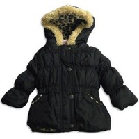 Pink Platinum - Infant Girls Puffer Hooded Winter Jacket, Black, Tan