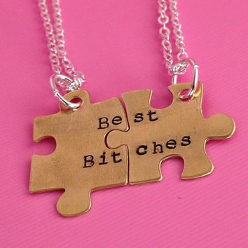 Best Bitches- Hand Stamped Puzzle Charm Necklace Set- In Copper, Brass, and Aluminum