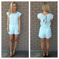 Pale Mint Prestige Scallop Lace Romper