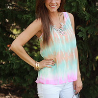 Tie-Dye Tank, blue/orange