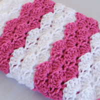 Ready To Ship Vibrant Rose Pink and White Baby Afghan Blanket Baby Shower Gift Receiving Blanket