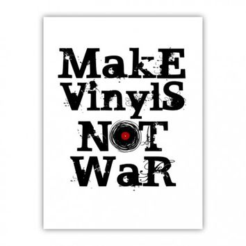 Make Vinyls NOT War Retro Music Vinyl Record Cool Wood Print