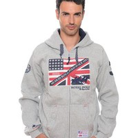 Geographical Norway USA Motif Zip-Up Hoodie Made In Europe