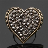 Bronze vintage adjustable heart ring