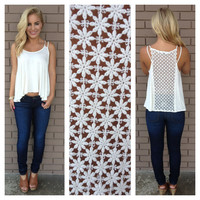 Daisies For Days Embroidered Tank- IVORY