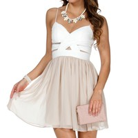 Elly- Ivory/nude Short Prom Dress