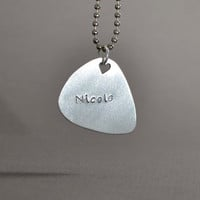 Guitar Pick Pendant Handmade from Aluminum for Personalized Names
