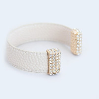 Beige Pebbled Leather Cuff