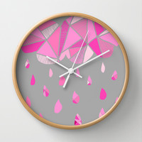 Fractured Pink Cloud Wall Clock by k_c_s