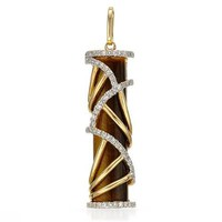 Vida 14K Yellow Gold Diamond Tigers Eye 4.68 CTW Pave Cage Pendant - 			        	Festival Fashion Shop
