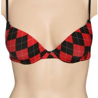 Black And Red Argyle Bra