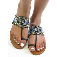 Pismo Beach Black Embellished Sandals