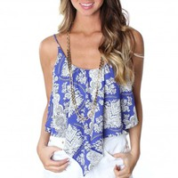 Fancy Flow Print Tank Blue