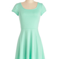 ModCloth Short Short Sleeves A-line Awe-Inspiring Aqua Dress
