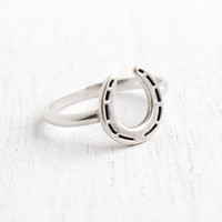Vintage Sterling Silver Horseshoe Ring - Size 6 3/4 Minimalist Good Luck Jewelry