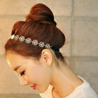 Housweety New Lovely Metallic Sweet Lady Hollow Rose Flower Elastic Hair Band Fashion Headband - Gold (Gloden Flower)
