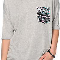 Lunachix Tribal Pocket Grey Tee Shirt