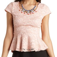 CAP SLEEVE LACE PEPLUM TOP