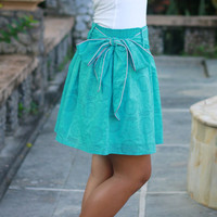 Turquoise Skirt, Floral Mini skirt, OOAK, skirt with sash