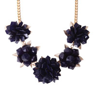 Floral Jewel & Drop Earring Set in Navy