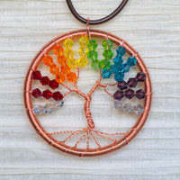 Gay Pride / Rainbow Copper Wire Wrapped Tree of Life Crystal pendant .