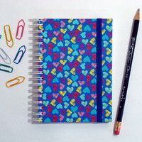 Little Hearts Blue - Spiral notebook/ sketchbook/ pocketbook/ travel journal
