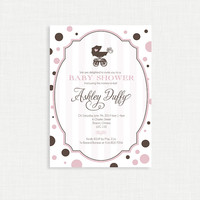Girls Baby Shower Invitation - Modern, Pink, Brown, Pram, Polka Dots, Printable, Digital File