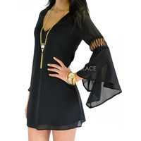 San Fran Black Bell Sleeve Dress