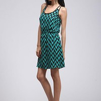 Teal & Black Sleeveless Chevron Dress w/ Cinched in Waist