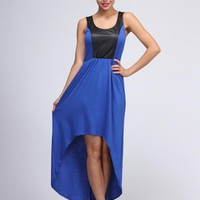 Blue Sleeveless Dress w/ Black Leatherette Panel