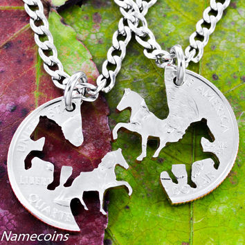 Horse Necklaces, Cowgirl Best Friends Jewelry, Interlocking Handcrafted cut Quarter