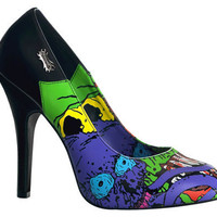 Goth High Heels Goth Reaper Print Pump Shoes: Wild and Free