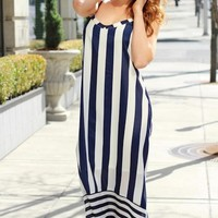 Navy &White Sleeveless Maxi Dress w/ High-Low Hem