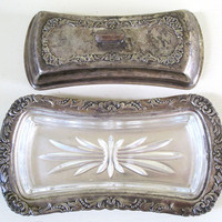 vintage silver plate butter dish with lid and by KatyBitsandPieces