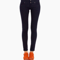 Buttoned High Waist Denim in Dark Blue