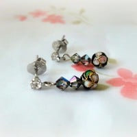 Black Flower Cloisonne Earrings Crystal Studs Oriental Asian | LittleApples - Jewelry on ArtFire
