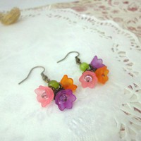 Handmade Flowers Earrings Antique Brass Orange Pink Purple Crystals Spring | LittleApples - Jewelry on ArtFire