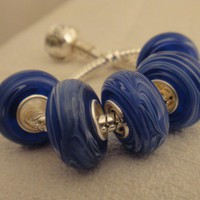 Velvet Blue Murano Glass Bead for Bracelet | asterling - Jewelry on ArtFire