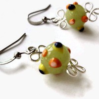 Octopus Earrings Lime Green Dot Glass Beads Vibrant | LittleApples - Jewelry on ArtFire